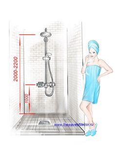 высота смесителя в душе