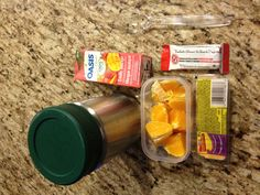 Day 6- tomato vegetable soup, cheese and crackers, granola bar, orange segments, juice box