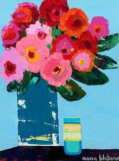 Abstract Flowers, Watercolor Flowers, Monochromatic Art, Flamingo Art, Guache, Paintings I Love, Arte Floral, Art Plastique, Creative Art