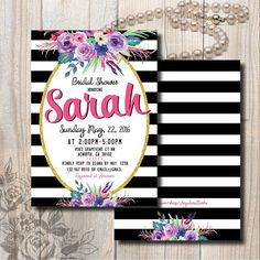 Black and White Floral invitaion / Double sided by AngelinaWorks