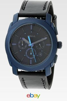 2b337e5c2fb9 Fossil Men s Machine Blue Leather Japanese Quartz Fashion Watch Relojes  Elegantes