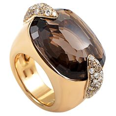Pomellato Pin Up Yellow Gold Smoky Quartz Diamond Ring | From a unique collection of vintage cocktail rings at https://www.1stdibs.com/jewelry/rings/cocktail-rings/