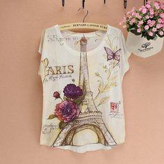 Famous La Tour Eiffel pattern T-shirt women fashion design Paris lady culture top tees summer