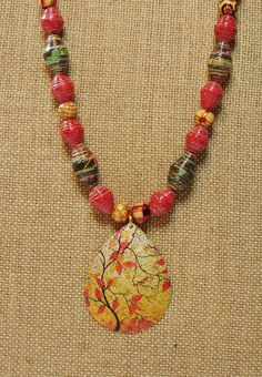 Handmade Paper Bead Necklace Dark Fall by ThePaperBeadBoutique