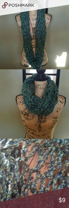 Double Arm Knitted Infinity Scarf Blend of Blues, sea green & grey. Yarn is 100% acrylic. Open weave. New. Handmade. Accessories Scarves & Wraps