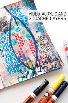 Some inspiration for mixing layers of acryic paint, acryl gouache and gouache paint. Watch the video to see more in this art journal page by Kim Dellow Art Journal Pages, Journal Ideas, Types Of Painting, Art Uk, Paint Pens, Journalling, Art Tips, Gouache, My Favorite Things
