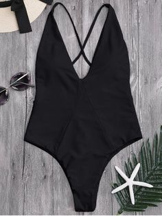 85c1cbfaed6eb High Cut Cross Back Swimwear - BLACK M Zaful Bikinis, One Piece Swimwear,  Green