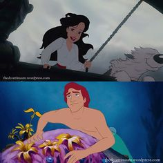 I love this! Ariel and Eric reversed roles ❤️ I love this! Ariel and Eric reversed roles ❤️ stuff Disney Pixar, Walt Disney, Disney Jokes, Funny Disney Memes, Disney Marvel, Disney Fan Art, Cute Disney, Disney And Dreamworks, Disney Animation