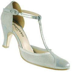 REPETTO Baya T-Strap Pump Mary Jane Grey Green Pearlescent T-Bar High Heel 40 9 #Repetto #MaryJanes #Party
