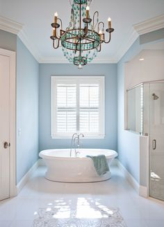 House of Turquoise: RTG Construction | bathroom turquoise chandelier