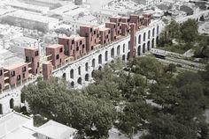 Projeto propõe anexo habitacional de madeira a um aqueduto do século IV em Istambul