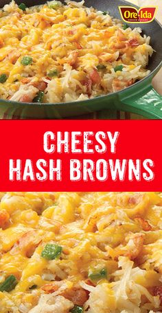 Make Cheesy Hash Browns and watch 'em forget about the snooze button. Our Cheesy Hash Browns mix up potatoes with veggies, bacon and melty cheese. Ore Ida, Bacon Hash, Shredded Hash Browns, Cheesy Hashbrowns, Peppers And Onions, Yams, Easter Recipes, Stuffed Green Peppers, Casseroles
