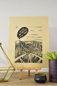Bird Linocut Print Is there no way out.. 9x12 by JennyBodellArt