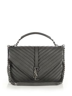 Saint Laurent - Large College Monogram Matelasse Leather Shoulder Bag