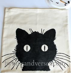 DIY Black Cat Pillow - Fill in with Black Paint