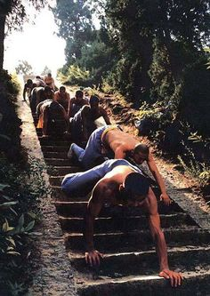 Shaolin Kung Fu, stairs training - tiger crawls ----------- yikes that takes some muscles to do...