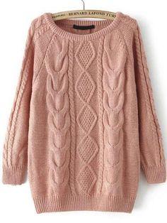 Description Length(cm) :66cm Bust(cm) :98-112cm Size Available :one-size Sleeve Length(cm) :67cm Season :Fall Pattern Type :Cable Items :Pullovers Color :Pink T