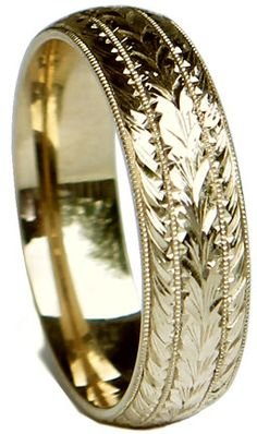 New HAND ENGRAVED Man's 14K White Gold 6 mm wide Wedding