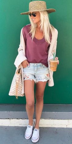 summer casual style outfit hat   top   shorts   bag The Best of fashion trends in 2017.