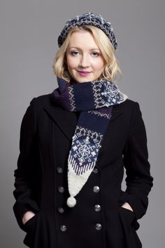 St Agnes Eve patterncard kit by Alice Starmore. The slim scarf has pockets for keeping hands warm.
