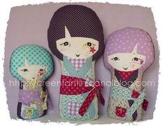 magnifiques petites poupées Kokeshis en tissu, et avec le tuto pour les faire !!! Elles sont trop belles