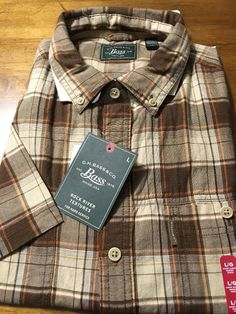 G.H. Bass & Co. Desert Palm Brown Plaid Men's Casual Shirt Size Large NWT $50 #Bass