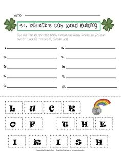 St. Patrick's Day word building activity