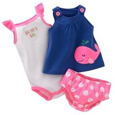 Baby Clothes: Carter's Baby Girl Pink & Navy Whale Set
