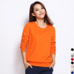 2d5cd5290d3ca 2016 Winter Autumn New Women s Casual Sweatshirts Long Sleeve Cotton O neck  Solid Color Pullover Female Young Hoodies Sweatshirt-in Hoodies    Sweatshirts ...