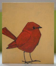 happy tangerine original cute little round orange bird by a2n2koon