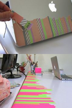 Cover your laptop and desk wwith washi tape | 56 Adorable Ways To Decorate With Washi Tape