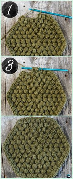 Crochet Puff Stitch Hexagon Motif Free Pattern - Crochet Hexagon Motif Free Patterns