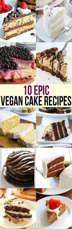 Everyone loves cake Bake one of these epic vegan cake recipes to impress even nonvegans at your next party Chocolate cheesecake strawberry much Vegan Treats, Vegan Foods, Vegan Dishes, Vegan Dessert Recipes, Dairy Free Recipes, Delicious Desserts, Gluten Free, Vegan Baking Recipes, Italian Desserts