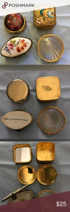 """Vintage Trinket Boxes Vintage Trinket boxes. Shell is made of glass. Gold box the engraving is raised as well as the bird and flowers.  The lid is mirrored. The white box is porcelain and is stamp d """"hand painted made in France"""". Vintage Other"""