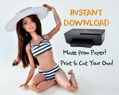 Barbie swimsuit, Barbie Black bikini, eco friendly toys, DIY Made from A4 paper by PuddinPrint on Etsy