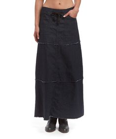 Another great find on #zulily! be-girl Black Tiered Denim Maxi Skirt by be-girl #zulilyfinds