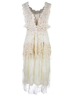 Anna-Kaci Granny Influence Embroidery Detail Lace Ruffle Dress, Beige, Small/Medium