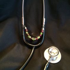Green and Pink Beaded Stethoscope Charm by DungleBees on Etsy