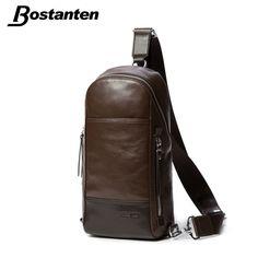 Bostanten Men's Vintage Cowhide Genuine Leather Bag Chest Pack Messenger Travel Shoulder Cross Body Sling Pack Chest Casual Bag