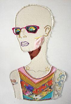 punk - soy un babar Fabric Painting, Fabric Art, Embroidery Art, Machine Embroidery, Creation Art, Creative Textiles, Quilt Modernen, Textile Fiber Art, Sewing Art