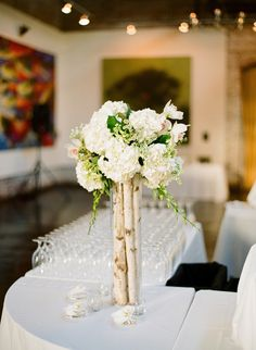 Love this centerpiece with a rustic elegant vibe. Photography by msp-photography.com, Floral Design & Decor by Le Petit Jardin  madisonflowergarden.com