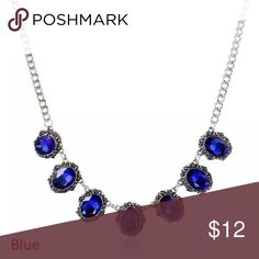 Blue crystal necklace Oval crystal necklace Jewelry Necklaces