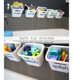 Bath Toy Storage - DIY Ideas for Small Bathroom - Click for 18 Small Space Tips