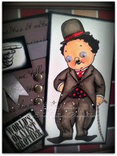 Hilarious guy card by Ema using googly eyes on the Charlie Chaplin guy from Crafty Secrets Barber Shop Digital Kit.  Entered in June Lets Hear it for the Boys  Linky Party.