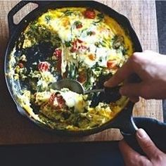 Crumbled chorizo sausage, spinach, cherry tomatoes, and cheese add heat, flavor, and color to this delicious frittata.