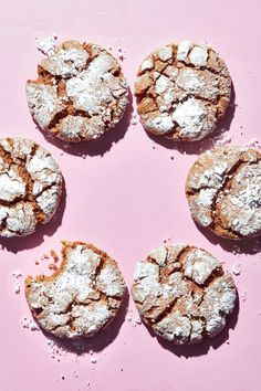 Molasses Crinkle Cookies   These soft, chewy, beautifully spiced gingerbread cookies look like they just took a romp in fresh snow—a holiday look that saves you the trouble of having to ice each one. A dual coat of granulated and powdered sugar will help the slightly sticky dough balls hold their shape and get that crinkled texture. Make sure to give the cookies room to spread on the baking sheet and to let them cool at least 5 minutes before removing from the pans