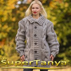Made to order hand knitted wool cardigan in gray by supertanya