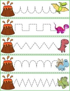 Trace The Pattern: Dinosaurs Running From Volcanoes Farm Animals Preschool, Preschool Writing, Numbers Preschool, Preschool Learning Activities, Free Preschool, Preschool Printables, Preschool Activities, Dinosaur Worksheets, Dinosaur Activities