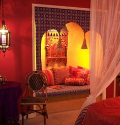One of the built-in Moroccan sofas in a guestroom @ the El Morocco Inn & Spa Decor Interior Design, Interior Decorating, Decorating Ideas, California, Hot Springs, Palm Springs, House Rooms, My Dream Home, Morocco