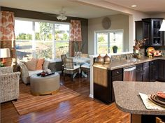 Step down family room j hall homes inc pinterest room for Kitchen morning room designs